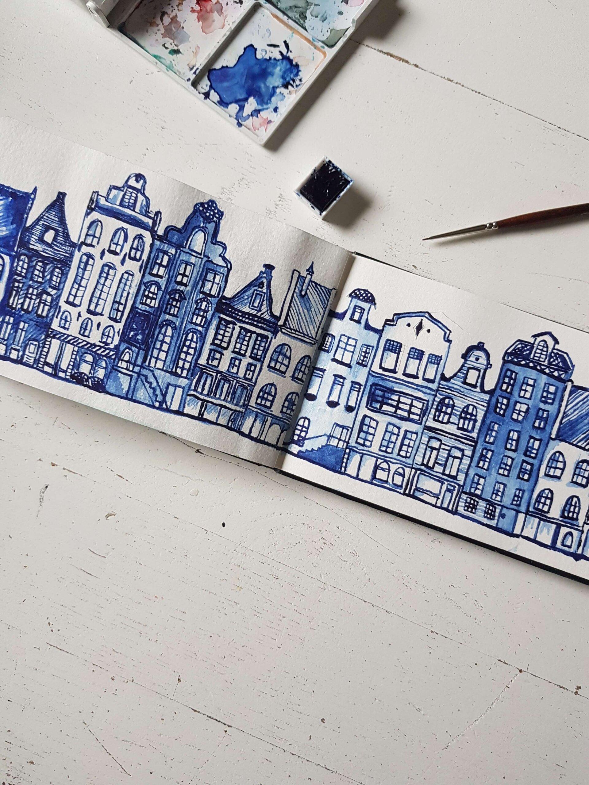 Grachtendpanden in Delft, gemaakt met waterverf.