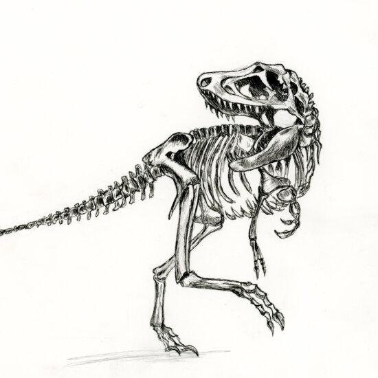 T-rex gemaakt met inkt