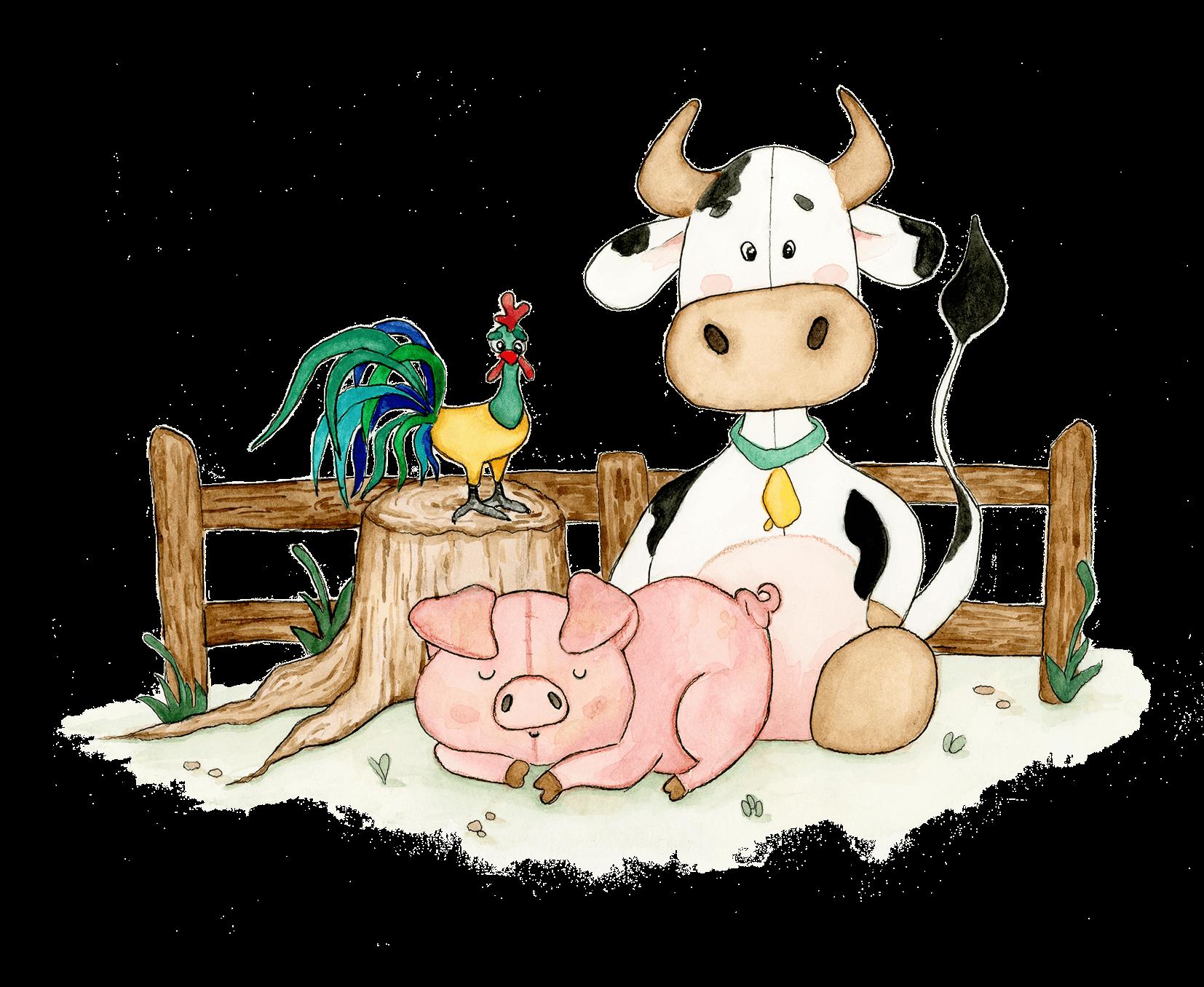 Boerderijdieren voor een geboortekaartje