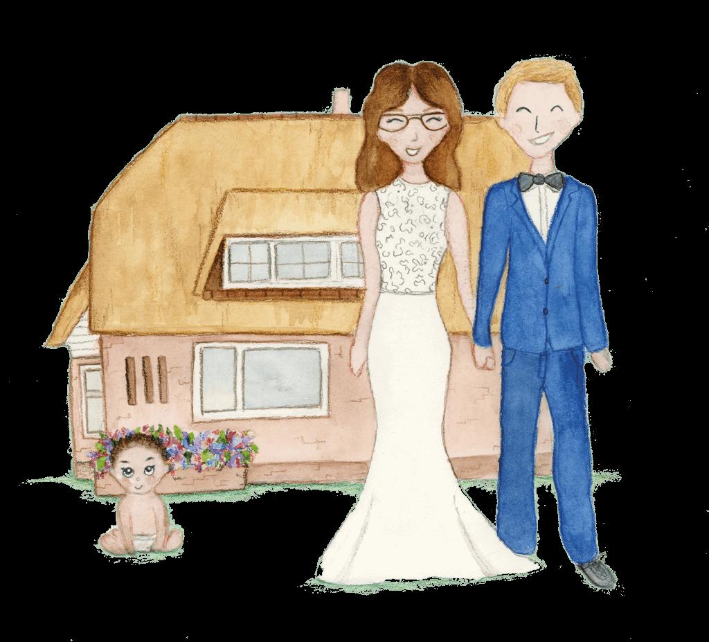 Illustratie trouwkaart