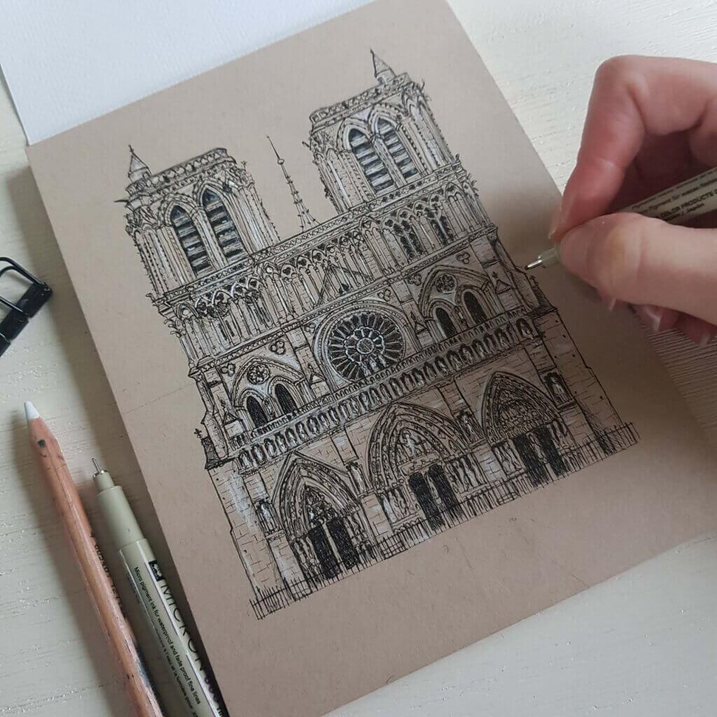 De Notre Dame in inkt en potlood
