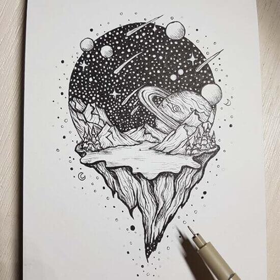 Planeet in inkt